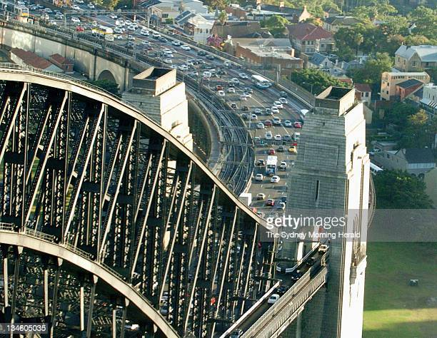 Aerial view of traffic approaching the Sydney Harbour Bridge as viewed from North Sydney 24 March 2006