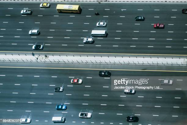 Aerial view of traffic driving on highway