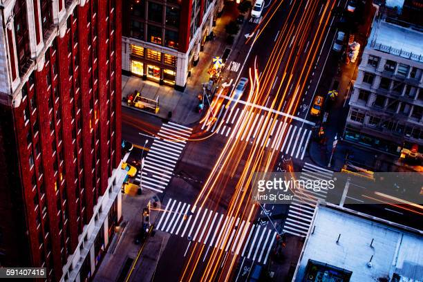 Aerial view of traffic driving on New York street, New York, United States