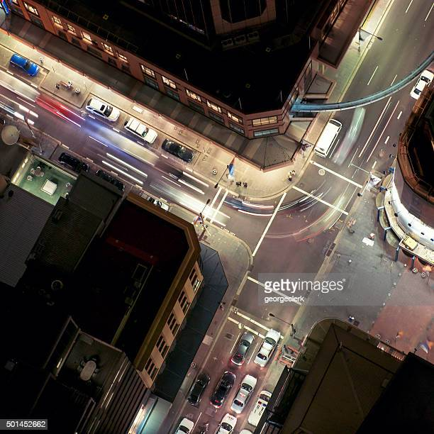 Aerial view of traffic junction at night
