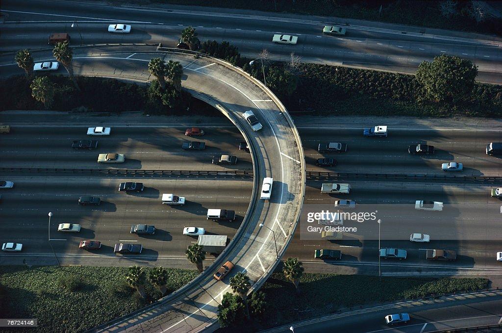 Aerial view of traffic on interstate interchange