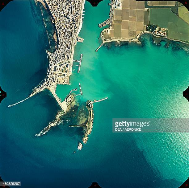 Aerial view of Trapani zenithal point of view Sicily Region Italy