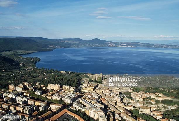 Aerial view of Trevignano Romano and Lake Bracciano Lazio Italy