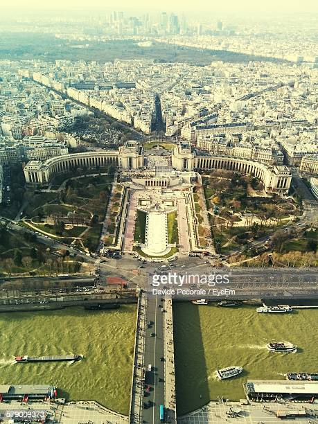 Aerial View Of Trocadero Fountains And Canal In City