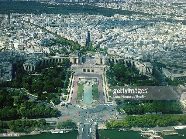 Aerial View Of Trocadero Gardens In Front Of Cityscape