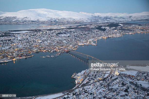 Aerial view of Tromso Bridge, Tromso, Norway