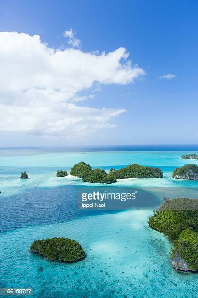 Aerial view of tropical paradise islands, Palau