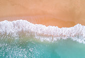Aerial view of tropical sandy beach and ocean.