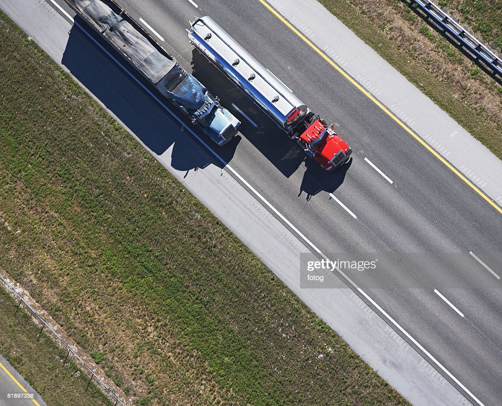 aerial view of trucks on highway