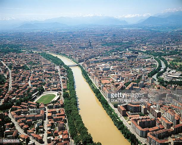 Aerial view of Turin and the Po River Piedmont Region Italy