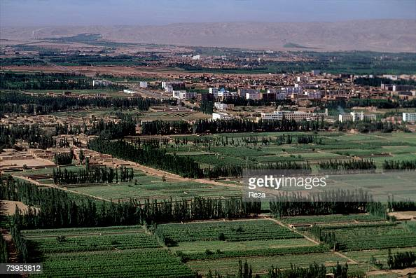 Aerial view of Turpan city of the Autonomous Region of Xinjiang August 1995 in Turpan China
