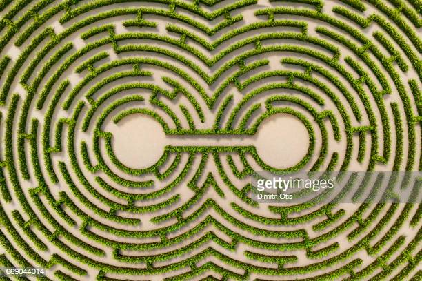 Aerial view of two connected points in a hedge maze