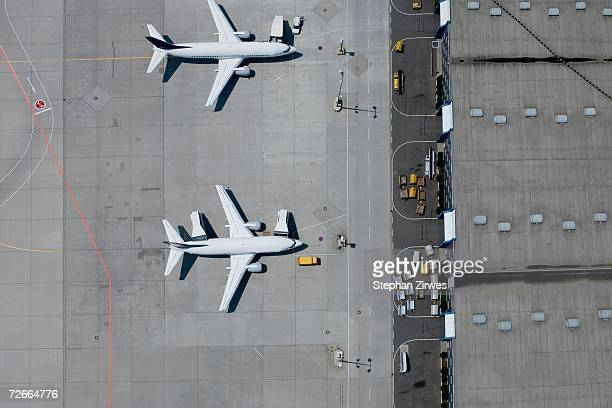 Aerial view of two parked airplanes