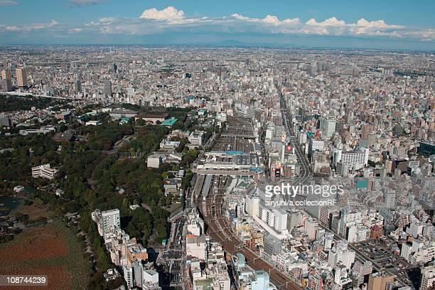 Aerial view of Ueno station, Taito ward, Tokyo Prefecture, Honshu, Japan