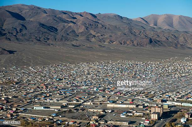 Aerial view of Ulgii on the flight from Ulaanbaatar to Ulgii in western Mongolia