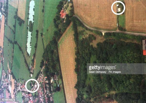 Aerial view of Ulting Essex showing the Jarvis family home and the location where Margaret Jarvis and her two son's Christopher and Russell were...