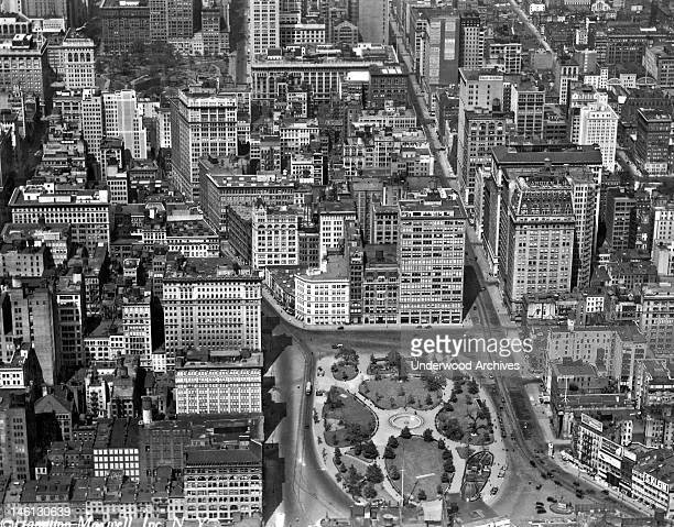 Aerial view of Union Square in Manhattan named for the confluence of the 19th century major thoroughfares of Broadway and Park Avenue New York New...
