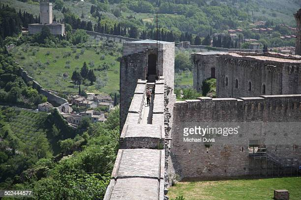 aerial view of upper castle walls in Assisi