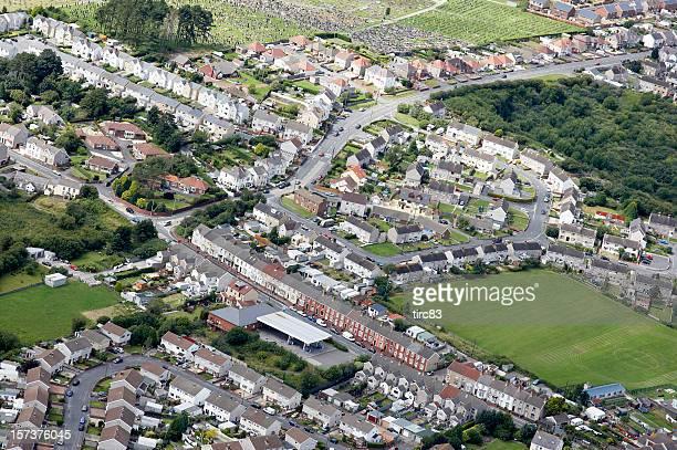 Aerial view of urban housing