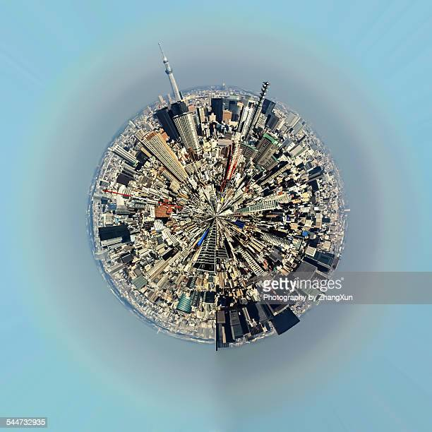 Aerial view of urban landscape of Tokyo