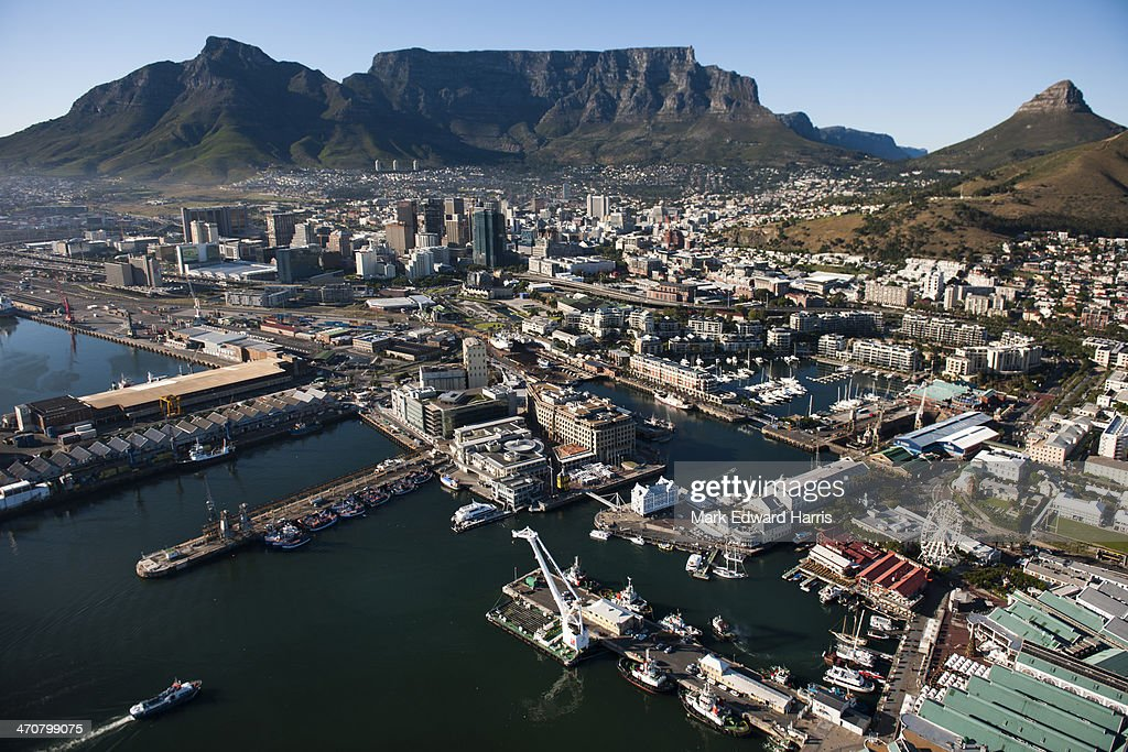 Aerial View of V&A Waterfront and Cable Mountian