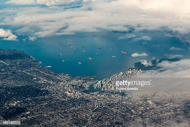 Aerial view of Vancouver city and harbour