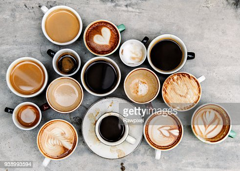 Aerial view of various coffee : Stock Photo