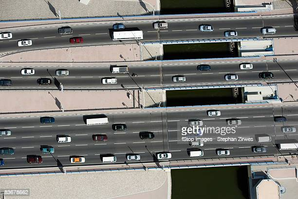 Aerial view of vehicles driving along a motorway