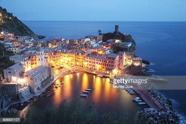 Aerial view of Vernazza port at night