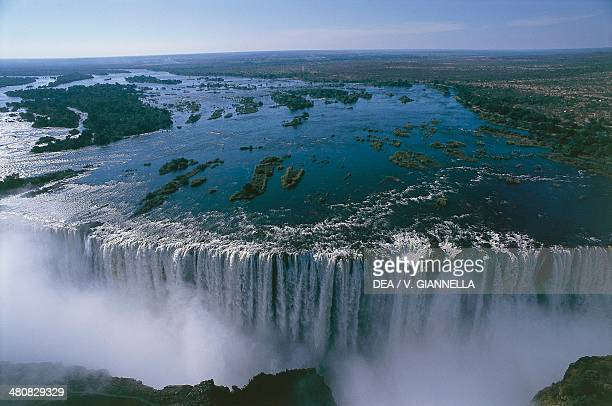 Aerial view of Victoria Falls Zambezi River MosioaTunya National Park Zambia