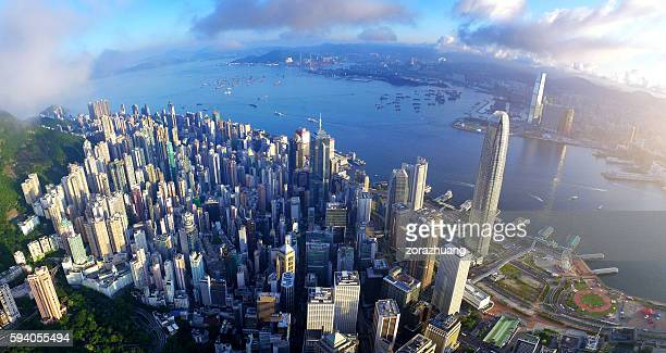Aerial view of Victoria harbour in sunrise