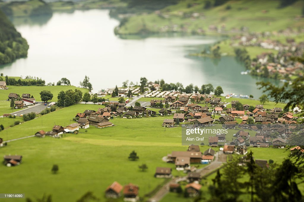Aerial view of village on lake : Stock Photo