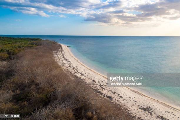 Aerial view of virgin pristine beach in White Key Hidden beauty of Cuba beautiful blue waters and white sand in forgotten inhabited piece of land