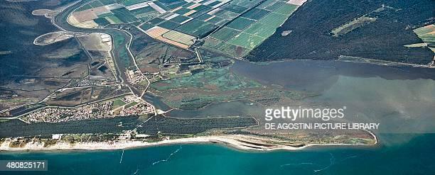 Aerial view of Volano Province of Ferrara Po Delta Regional Park Emilia Romagna Region Italy