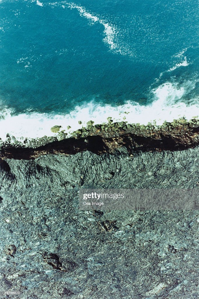 Aerial view of volcanic landscape and coast, Big Island, Hawaii : Stock Photo
