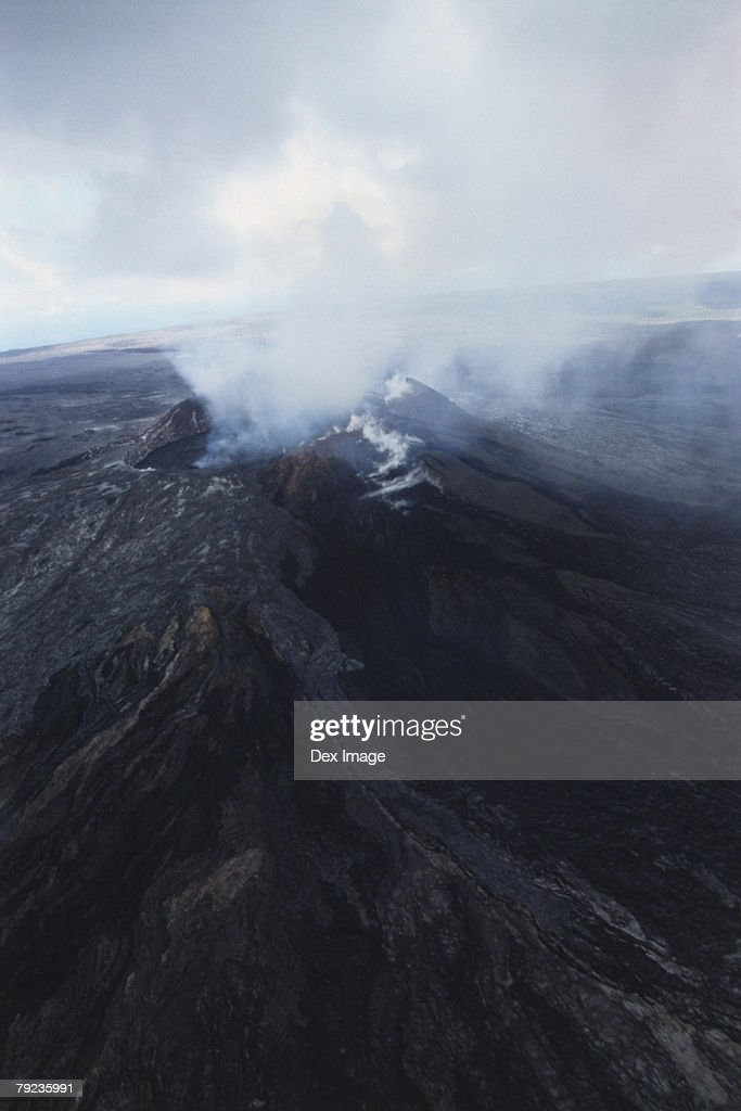 Aerial view of volcano emitting smoke, Big Island, Hawaii : Stock Photo