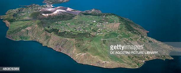 Aerial view of Vulcano Island in the Aeolian or Lipari Islands Sicily Region Italy
