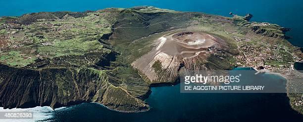 Aerial view of Vulcano Island Porto and Gran Cratere in the Aeolian or Lipari Islands Sicily Region Italy
