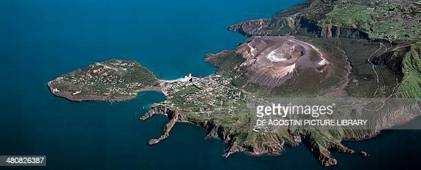 Aerial view of Vulcano Island Vulcanello Porto and Gran Cratere in the Aeolian or Lipari Islands Sicily Region Italy