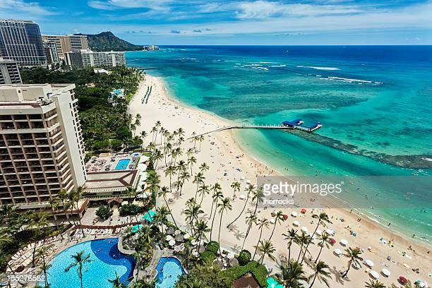 Aerial view of Waikiki beach and Diamond Head