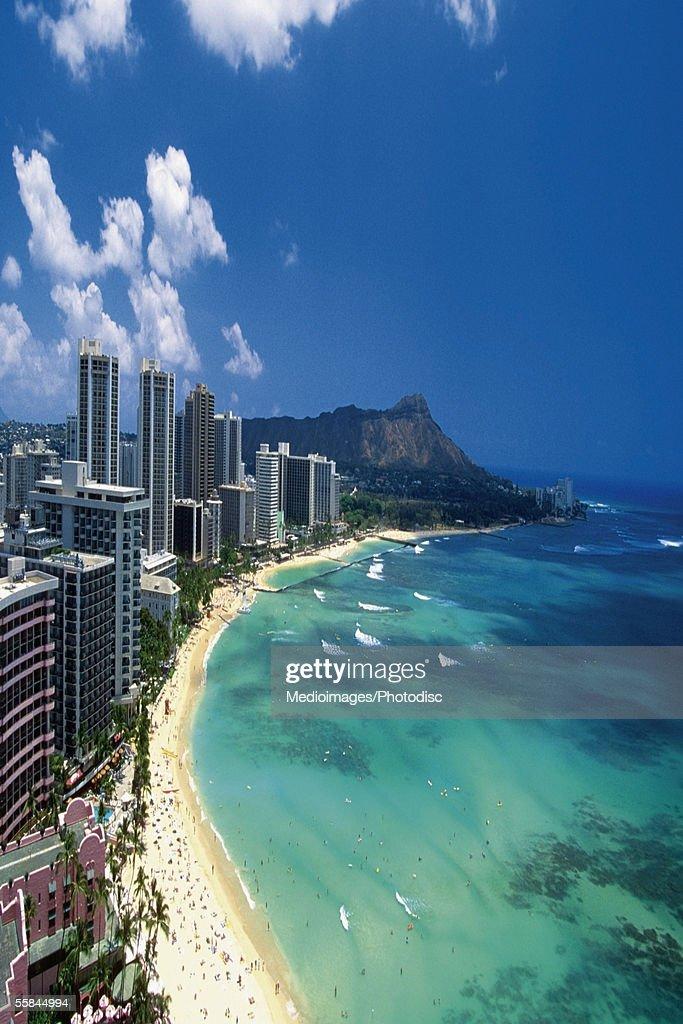 Aerial view of Waikiki Beach, Honolulu, Oahu, Hawaii, USA : Stock Photo