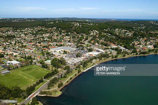 Aerial view of Warners Bay, New South Wales, Australia