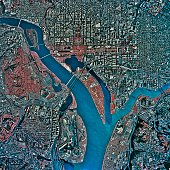'Aerial View of Washington D.C., satellite image'