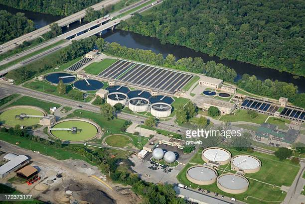 Aerial view of waste water treatment plant.