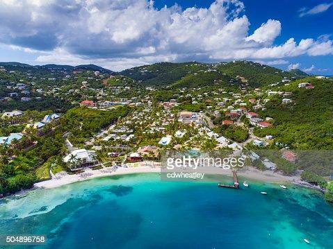 aerial view of Water Bay, St.Thomas, US Virgin Islands
