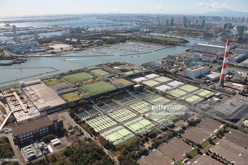 Aerial view of water treatment plant, Edogawa ward, Tokyo Prefecture, Honshu, Japan