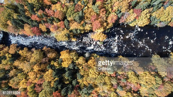 Aerial View of Waterfall in Autumn Forest Nature, Quebec, Canada