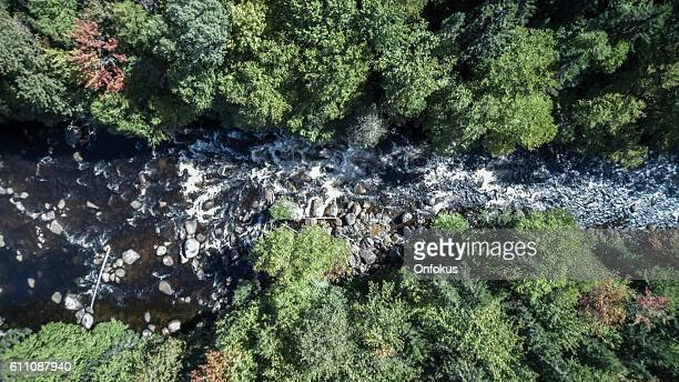 Aerial View of Waterfall in Forest Nature, Quebec, Canada