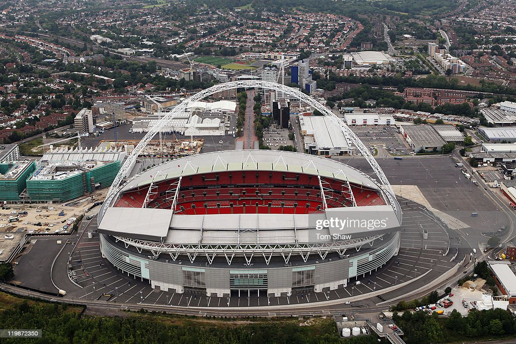 Aerial view of Wembley Stadium which will host football events during the London 2012 Olympic Games on July 26, 2011 in London, England.