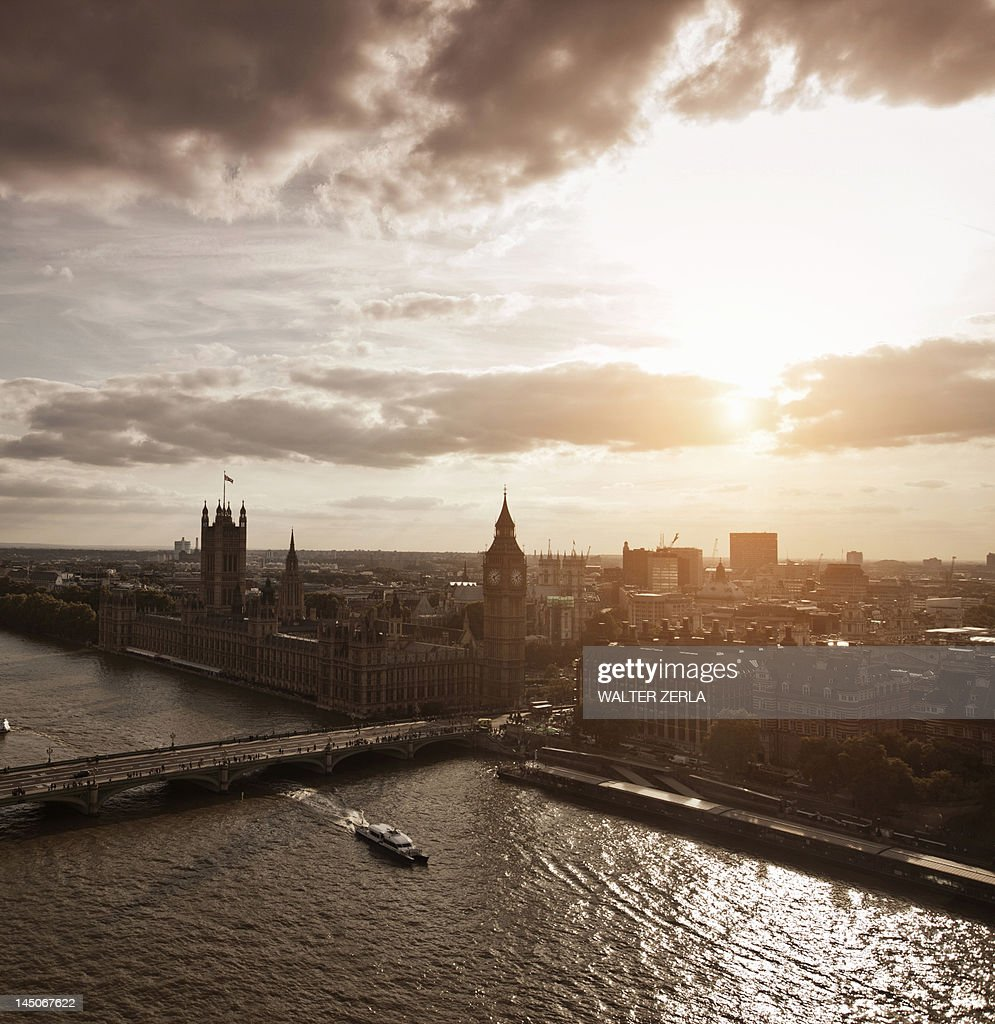 Aerial view of Westminster in London : Stock Photo